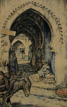 Anton Pieck, olandese (1895-1987), pittore, Tangeri, c.1930.