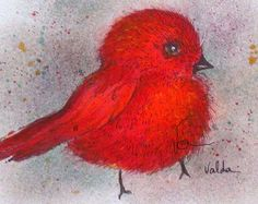 Red Bird print from original. 4x6 by valdasfineart on Etsy