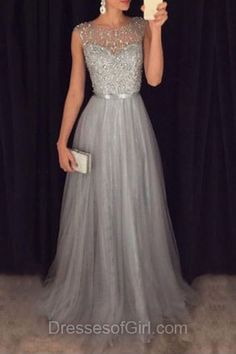 A-line Scoop Neck Tulle Floor-length Beading Fashion Long Prom Dresses