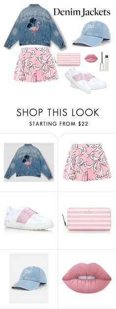 """Aesthetic Denim"" by pumpkinseed112 ❤ liked on Polyvore featuring Pull&Bear, Boutique Moschino, Valentino, Kate Spade, Lime Crime, Givenchy, denimjackets and WardrobeStaples"