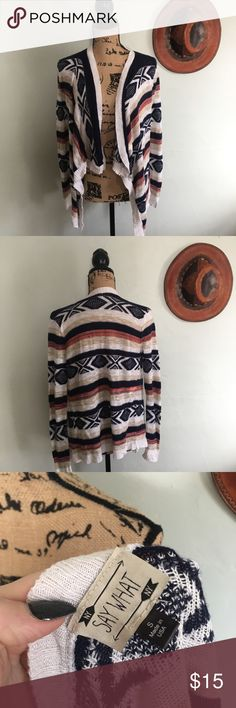 """Say What stripped cardigan sweater Say What stripped cardigan sweater size small  🌵Bundle deals available. I carry various sizes/brands. 🌵No trades, holds, or modeling. 🌵All reasonable offers accepted only through """"offer"""" button. No lowball offers please. Please submit final offer willing to pay as I prefer to not counteroffer. 🌵Happy Poshing! Say What? Sweaters Cardigans"""
