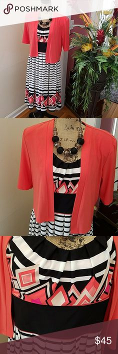 LOVELY DRESS AND JACKET SET This is a perfect outfit for work, church or play. Worn once. Dress Barn Dresses