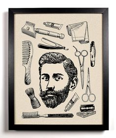 His, Vintage Bearded Man and toiletries Art Print 8 x 10 Buy 2 Get 1 FREE scissors brush razor hair on Etsy, $9.99