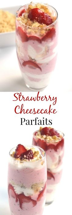 These Strawberry Cheesecake Parfaits take 5 minutes to make and are the perfect dessert. Made lighter with Greek yogurt and fresh strawberries. www.nutritionistreviews.com