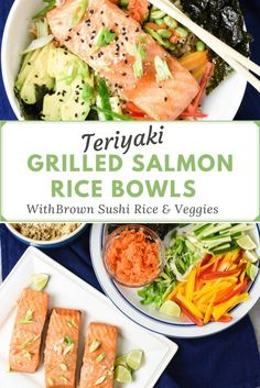 The Best Teriyaki Grilled Salmon Rice Bowls