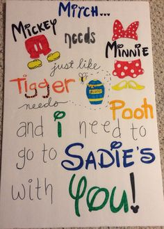 Cute way to ask someone to Sadie's !