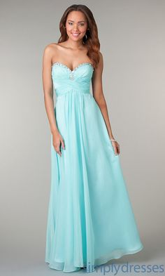 Long Mint Green Strapless Prom Dress - SimplyDresses
