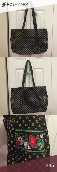 NWT Vera Bradley Diaper Bag The pattern is called vibrant black. It comes with the original changing pad. The pattern is almost like little sunflowers. Vera Bradley Bags Baby Bags