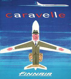 by Erkki Mattsson, 1960 Vintage Advertising Posters, Vintage Travel Posters, Vintage Advertisements, Vintage Ads, Vintage Images, Vintage Airline, Sud Aviation, Civil Aviation, Travel Ads
