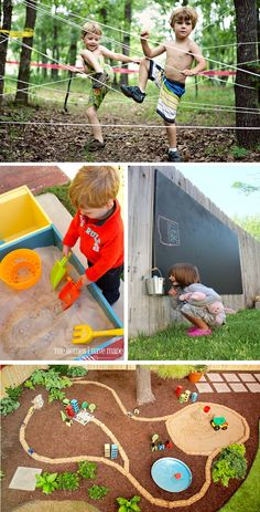 Lots of fun ideas!!  Transform your back yard into a play scape for your kids to explore!