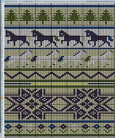 """FREE pattern on Ravelry by Shannon Griswold, who says, """"This is the chart for my Icelandic Horses Xmas Stocking, adapted from ChemKnit's KAB stocking using her Excel chart-making tutorial. It is a top down sock, knit in the round, so the chart should be turned upside down and read from the bottom up, right to left. Please see the pattern posted on her blog for the full instructions on constructing the stocking"""" http://www.chemknits.com/2010/09/kab-stocking-pattern.html"""