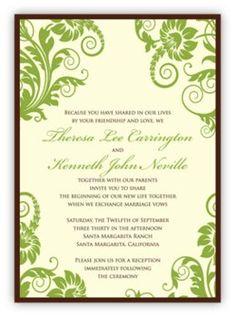Wedding, Green, Brown, Invitations, Moncher designs