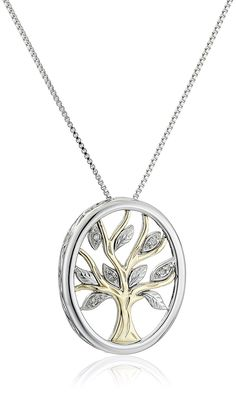 Sterling Silver and 14k Yellow Gold Diamond Accent Family Tree Pendant Necklace,18' * Read more reviews of the product by visiting the link on the image.