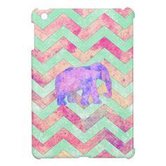 Whimsical Purple Elephant Mint Green Pink Chevron iPad Mini Cases
