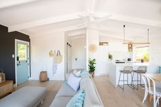 Entire home/apt in Sunshine Beach, Australia. Providing you with the perfect beachside escape, this superbly styled central Sunshine Beach apartment takes relaxation to a new level. Ideas Decoracion Salon, Barn Door Sliders, Engineered Timber Flooring, Exposed Rafters, Beach House Decor, Home Decor, Beach Houses, Open Layout, Living Room Remodel
