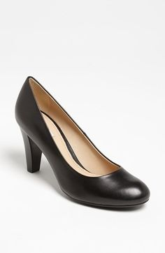 Geox Leather Pump - A gorgeous Italian-leather pump is shaped with an almond toe and lifted with a stacked, tapered heel. A ventilated rubber sole incorporates a waterproof membrane for functional, all-weather fashion.