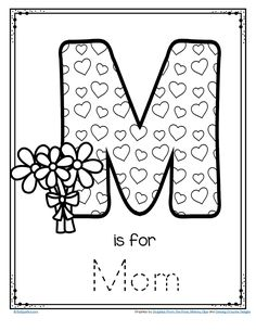 *** FREE *** M is for Mom trace and color printable #preschool #kindergarten #mothersdayactivity #freeprintable