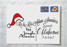 Christmas Card Santa Hat Calligraphy Envelope Addressing via Etsy.