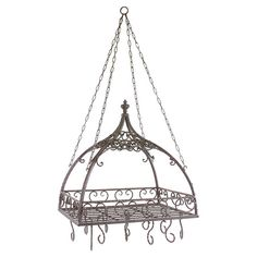 Bring stylish organization to your kitchen with this versatile pot rack, showcasing a scrolling wrought iron design and multiple hooks.