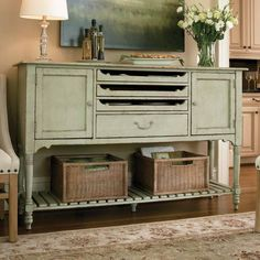 Light Green Country Sideboard Server Buffet | eBay