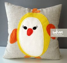 Penguin Pillow Cover  16x16 by sukanart on Etsy, $50.00