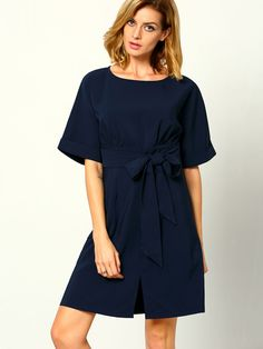 Online shopping for Navy Workplace Short Sleeve With Bow Zipper Dress from a great selection of women's fashion clothing & more at MakeMeChic.COM.