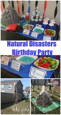 Boy Birthday Party Idea- Natural disaster party with science experiments and crafts including a volcano, skyscraper building, earthquake, tornado and more. #birthdayparty @keepingitsimple