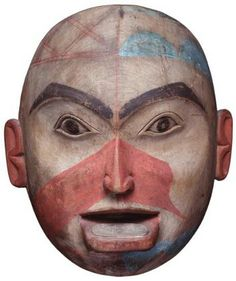Tlingit polychrome mask with labret. 19th century. @cargociltist