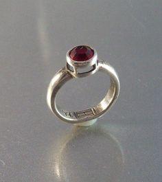 Vintage Sterling Garnet Ring, Designer Signed Raised Bezel Setting Modernist