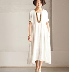 Summer Linen Angle White Dress Maxi Dress Loose por clothingshow, $65.00