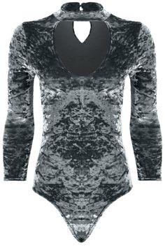 Ladies 3 4 Sleeve Choker V Neck Crushed Velvet Keyhole Bodysuit Leotard b2d47df687d