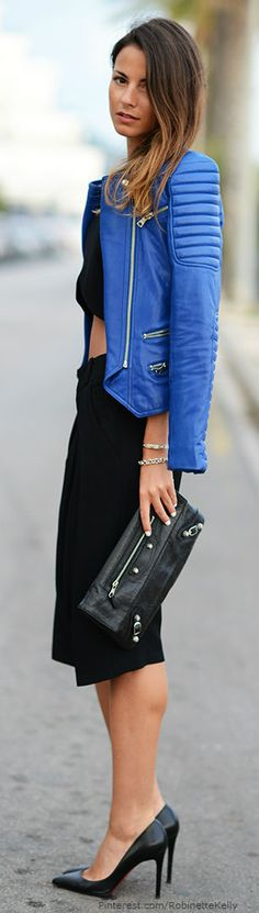 gorgeous blue moto jacket