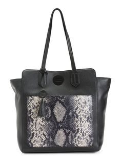 Leather Snake Pouch Tote