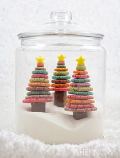 christmas-tree-cookies in a jar can make quite an unique centrepiece on a party table.