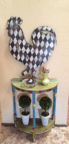 Harlequin Rooster and Green Table!!!