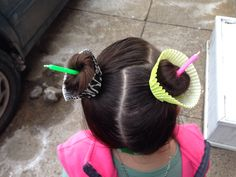 "Dr Seuss week, Wacky Wednesday, Brielle's Crazy Hair Day...Cut an ""X"" in cupcake holder on the pony tail then wrap a bun inside."