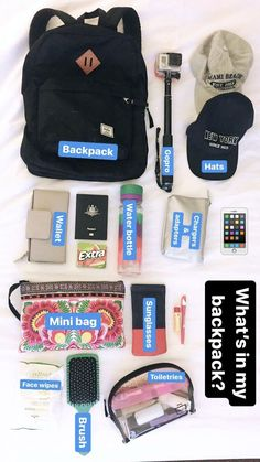travel essentials Best Camping Essentials For Girls Backpacking Ideas Travel Bag Essentials, Road Trip Essentials, School Essentials, Road Trip Hacks, Airplane Essentials, Travel Necessities, Road Trips, Travel Packing Checklist, Travelling Tips