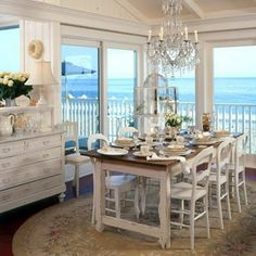 French Country Dining With a little help from local talent, Nina Terzian renovated a Southern California beach house to reflect her new lifestyle--one without winter coats or city lights. Coastal Cottage, Coastal Living, Coastal Decor, Coastal Homes, Cottages By The Sea, Beach Cottages, Home Living, Living Spaces, French Country Dining
