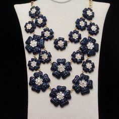Navy Blue Flower Necklace 3 Tiers Rhinestones Kate Spade | eBay