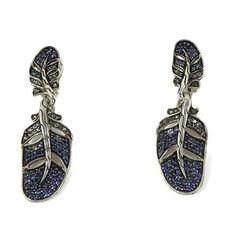 326e88c12 John Hardy Sterling Silver 2.29tcw Blue Sapphire Gradient Feather Leaf Drop  Earrings