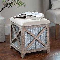 Give your space some rustic style with our Galvanized Metal Cube Ottoman! You'll love the texture its weathered wood and galvanized metal brings to your home. Country Furniture, Farmhouse Furniture, Furniture Sale, Upcycled Furniture, Furniture Decor, Farmhouse Decor, Modern Farmhouse, French Farmhouse, Country Farmhouse