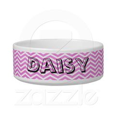 Personalized Pet Gift : Cat`s Name - Pet Bowl Zig Zag Pattern, Pet Bowls, Pet Gifts, Your Pet, Chevron, Cat, Pink, Cat Breeds, Cats