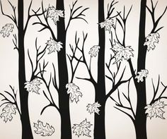 Vinyl Wall Decal Sticker Trees With Autumn Leaves #5351 | Stickerbrand wall art decals, wall graphics and wall murals.