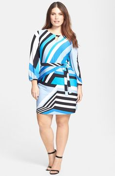 I'd love to see this Tahari Stripe Jersey Sheath Dress with a thick black belt and cool boots. #Nordstrom