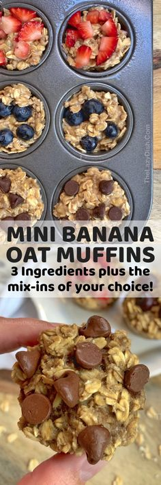 Healthy Banana Oat Muffins Ingredients) – The Lazy Dish Gesunde Bananen-Hafer-Muffins Bestandteile) – der faule Teller Oat Muffins Healthy, Banana Oat Muffins, Banana Oats, Healthy Snacks For Kids, Easy Snacks, Kid Snacks, Eat Healthy, Healthy Lunches, School Snacks