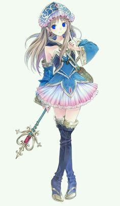Anime girl magic sorcerer staff kawaii
