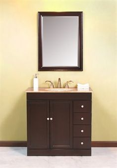 The Modena Single Bathroom Vanity has a elegant look designed for small bathrooms. Vanity has four drawers with 2 doors conceal storage with shelves. The Modena comes complete with matching elegant mirror with a design that will take your breath away. The Modena vanity frame is made with a solid Birch and the rest of vanity is made with composite panels. Cabinet has large cutout in the back that makes plumbing installation easy.