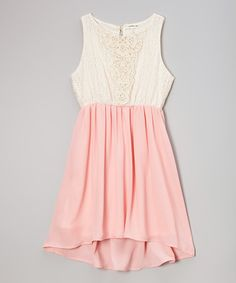 This is super sweet too!    This Ivory & Pink Lace Dress by Monteau Girl is perfect! #zulilyfinds