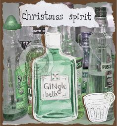 Limited design Christmas card £2.00 each. Buy 5 get one free. Gin gingle bells Christmas spirit!