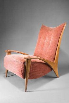 Paul Schneider von Esleben; Ashwood 'Fish Hook' Armchair for Thonet, 1948.